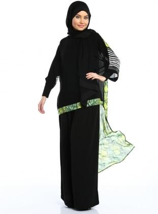 Tunik - Siyah&Yeşil Piton Desenli - Ferrace By Arzu Ergen