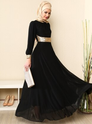 Yakasi Ve Manşeti Gold Şifon Abiye Elbise - Siyah - Modaysa