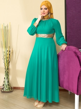 Yakasi And Gold Cuff Chiffon Abiye Dress - Green - MODAYSA 76655