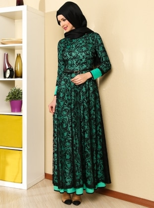 Maulana Long Ruched Abiye Dress - Green - MODAYSA 76687