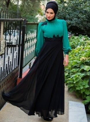 Embroidered Ruched Chiffon Dress - Green - MODAYSA 76585