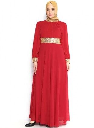 Manşeti Gold Şifon Elbise - Kırmızı - Modaysa