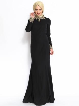 Boncuk Süslemeli Abiye Elbise - Siyah - Modaysa
