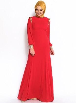 Modaysa Pul Payet Süslemeli Abiye Elbise - Kırmızı- Modaysa