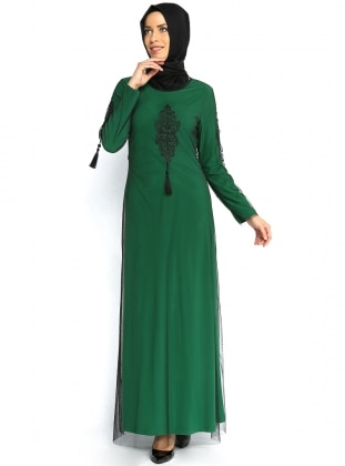 Over Tulle Detailed Abiye Dress - Green - MODAYSA 85980