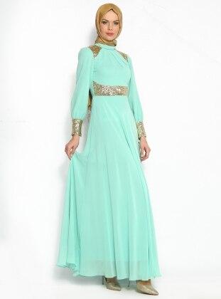 Payetli Şifon Abiye Elbise - Mint Y. Gold - Modaysa