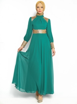 Sequined Chiffon Evening Dress - Green - MODAYSA 106576