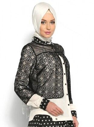 Desenli Ceket - Siyah - Armine Giyim Armine