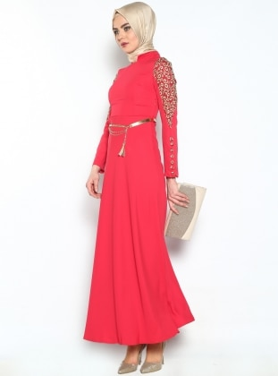 Modaysa Dantelli Uzun Abiye Elbise - Mercan - Modaysa