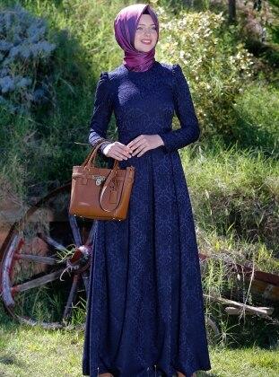 Alya Brokar Elbise - Lacivert - Kübra Biriktir