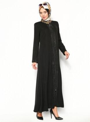 Drop Printed Abaya- Black - Modanaz 123804