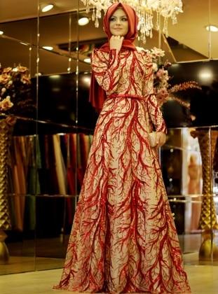 Evening Dress - Red - Pınar Şems