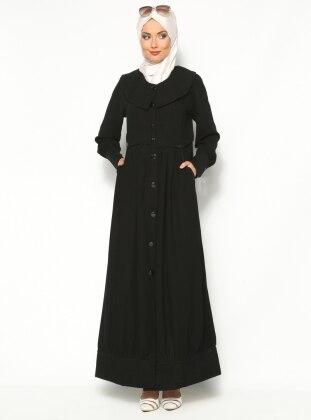 Black - Unlined - Point Collar - Abaya - ModaNaz 130342