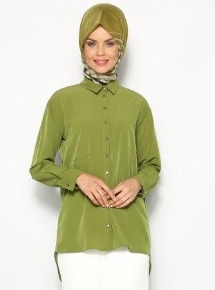 Çift Cepli Gömlek - Yeşil Appleline