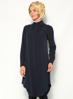 Ribbed Style Tunic - Navy Blue - Ozne Olmak 134597