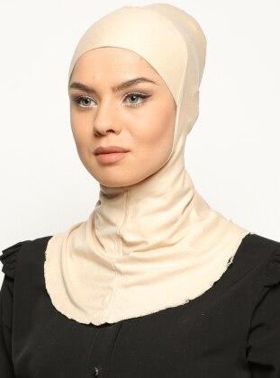 Boyunluklu Hijab Bone - Bej - Ecardin