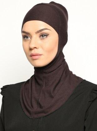 Boyunluklu Hijab Bone - Koyu Kahve - Ecardin