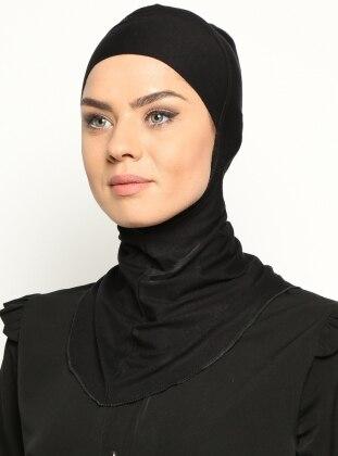 Boyunluklu Hijab Bone - Siyah - Ecardin