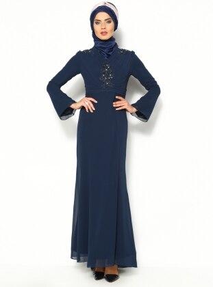 Draped Evening Dress - Navy Blue - Sevdem 147690