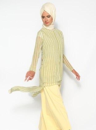 Striped Chiffon Tunic - Green - Puane 139240