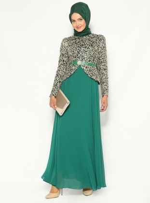I peple Embroidered Evening Dress - Green - MODAYSA 144684