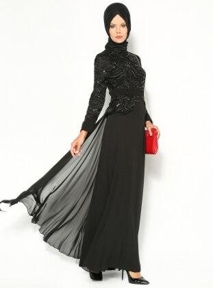 Peplum Abiye Elbise - Siyah - Modaysa