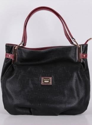 Bayan Çanta - Siyah Bordo - Silver&Polo