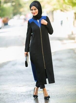 Fermuarlı Kap - Siyah Saks - Kayra