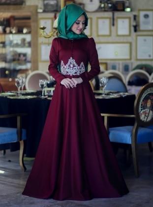 Lalezar Evening Dress - Maroon - Minel Ask 157479