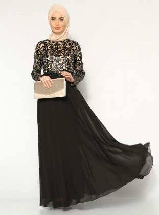Payetli Abiye Elbise - Siyah - Modaysa