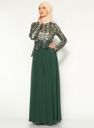 Sequined Evening Dress - Green - MODAYSA 157423
