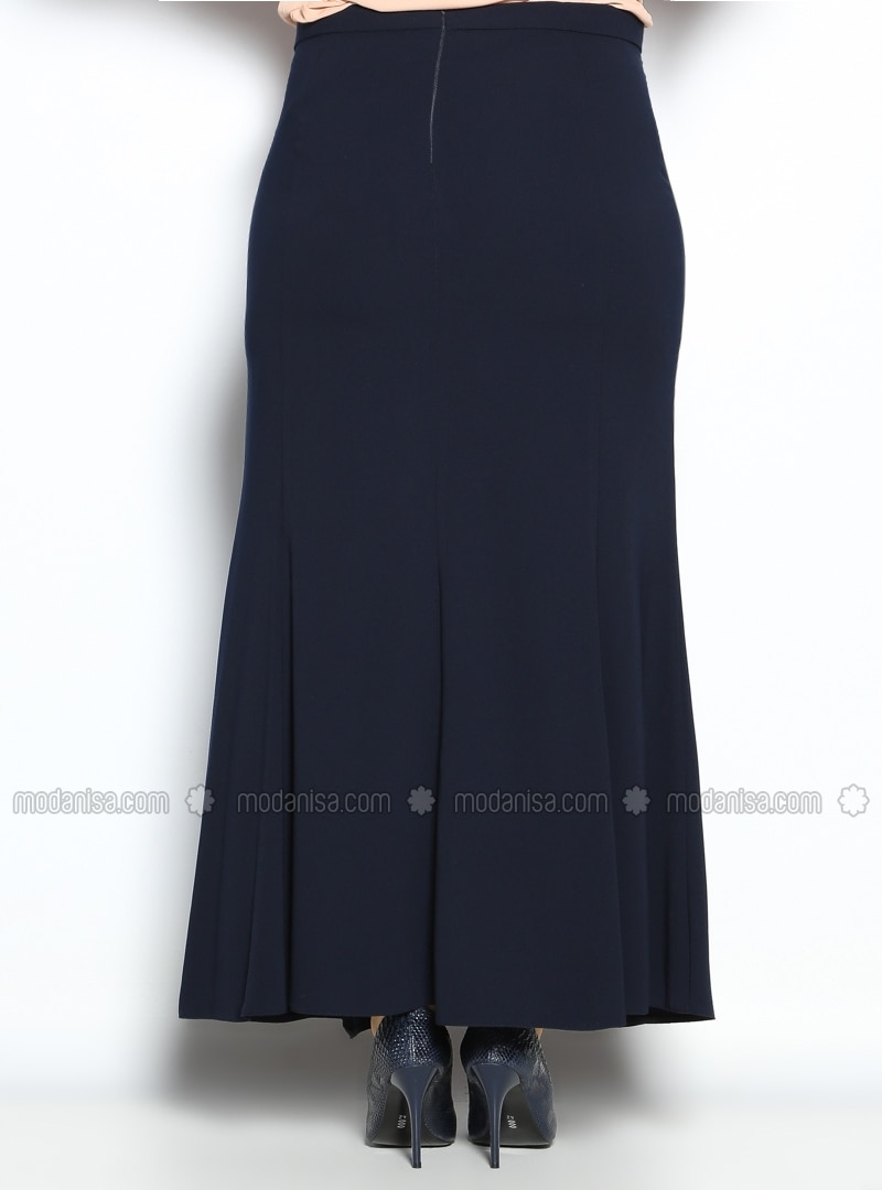 fish skirt navy blue plus size skirts modanisa