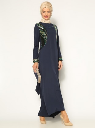 Sequined Evening Dress - Navy Blue - Mileny 158988