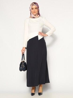 Bicolor Dress - White - N. Blue - Mileny 162808