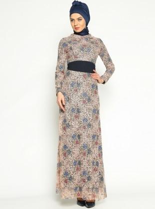 Lace Evening Dress - Navy Blue - Mislina 164733