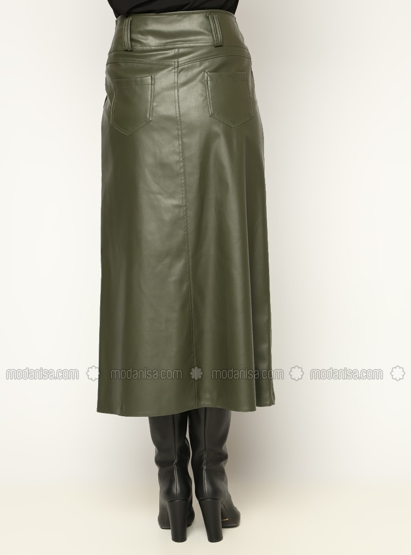 leather skirt khaki skirts modanisa