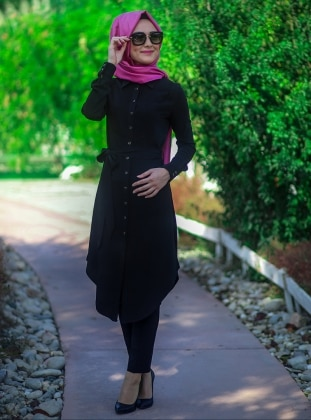 Ribbed Tunic - Black - Minel Ask 167655
