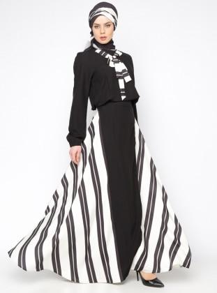Tuva Çizgili Elbise - Siyah
