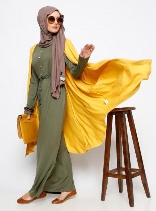 Düğme Detaylı Elbise - Haki - Everyday Basic