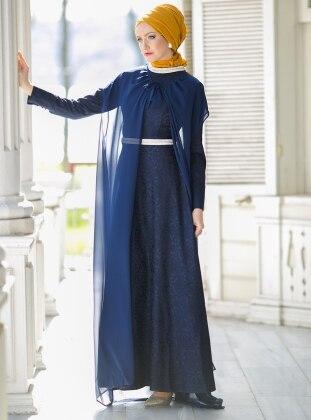 Caped Evening Dress - Navy Blue - Dersaadet 177744