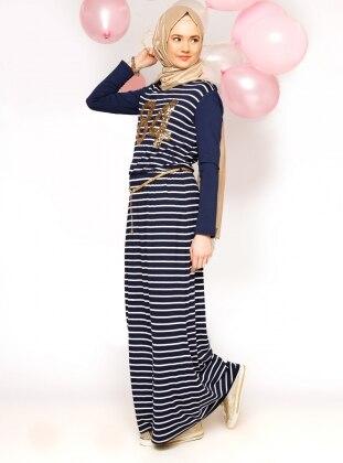 Striped Dress - Navy Blue - Benin