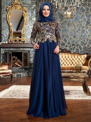 Firuze Evening Dress - Navy Blue - Mevra 180460