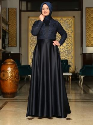 Rose Evening Dress - Navy Blue - Saliha 180559