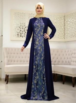 Damla Evening Dress - Navy Blue - SomFashion 181487