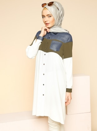 Buttoned Tunic - Green - Puane 185419