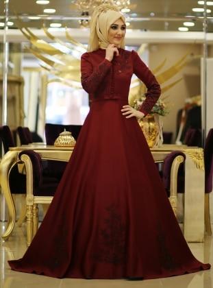 Acelya Evening Dress - Maroon - Minel Ask 187164