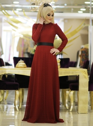 Petek Laced Evening Dress - Maroon - Minel Ask 187089