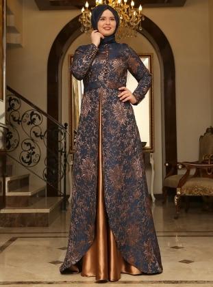 Brokar Abiye Elbise - Lacivert - Bakır - Saliha