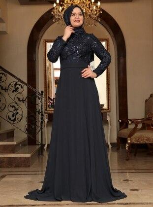 Yaprak Evening Dress - Navy Blue - Saliha 187654