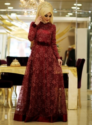 Dossy Evening Dress - Maroon - Minel Ask 188822